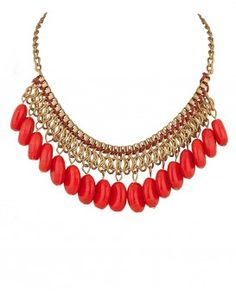 592f020606 Bib Necklace with Dangling Red Crystals