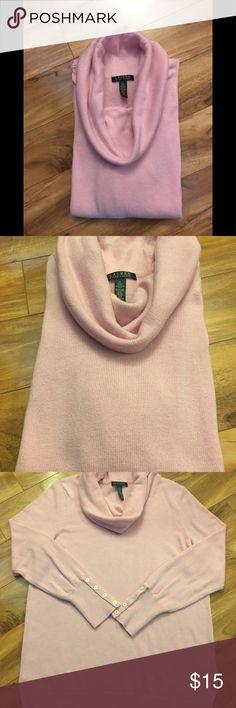 Ralph Lauren cowl neck sweater XL Lauren by Ralph Lauren cowl neck sweater Cotton candy pink XL Buttons on wrists Nylon/viscose/wool/polyester Lauren Ralph Lauren Sweaters Cowl & Turtlenecks