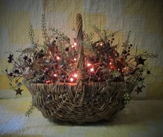 Rosehips and Berries Lighted Basket by WillowBPrimitives on Etsy, $40.00