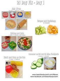 21 Day Fix: 1200-1499 Calorie Plan This is a day's worth of meals and snacks