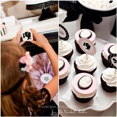Glamour Girl in Paris Party Printable Cupcake by tomkatstudio