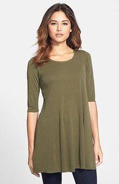 Eileen Fisher SZ XL Olive Stretch Silk Jersey Scoopneck Tunic NWT