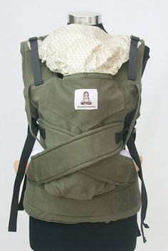 Ergonomic Baby Carrier Sling Green khaki Soft by lunalin on Etsy