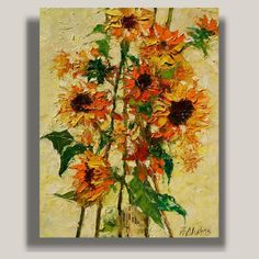 """Follow the Sun"" by ANDRE DLUHOS Sunflowers Orange Yellow Wild Field Flora ORIGINAL ART Oil Painting #Impressionism"