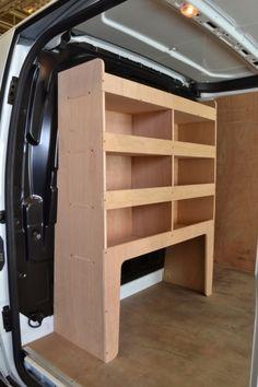 Ford Transit Custom Plywood Bulkhead van racking / Shelving unit - (Demar Racking) within Timber Shelving Demar UK Ltd Van Shelving, Custom Shelving, Steel Shelving, Van Storage, Truck Storage, Van Conversion Interior, Van Interior, Ford Transit, Van Roof Racks