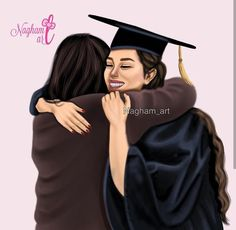 Best Friend Drawings, Girly Drawings, Graduation Picture Poses, Graduation Pictures, Mother Daughter Art, Sarra Art, Beautiful Girl Drawing, Dream Catcher Art, Girly M