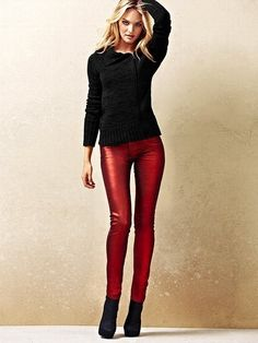 perfect christmas outfit! red skinny pants and black top
