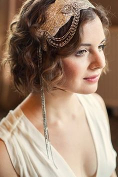 1920's style beaded hairband, perfect for a short bob or even a pixie cut! Click on the image to see the full gallery of amazing wedding hairstyles and accessories for short hair.