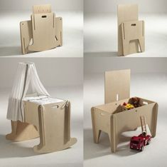 Bassinet that turns into a storage device for your kids toys. Schaukelwiege via swissmiss