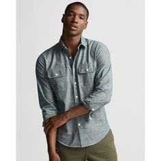 Express Two Pocket Chambray Shirt ($36) ❤ liked on Polyvore featuring men's fashion, men's clothing, men's shirts, men's casual shirts, blue, mens extra long sleeve shirts, express mens shirts, mens chambray shirt, mens button front shirts and mens long sleeve pocket t shirts