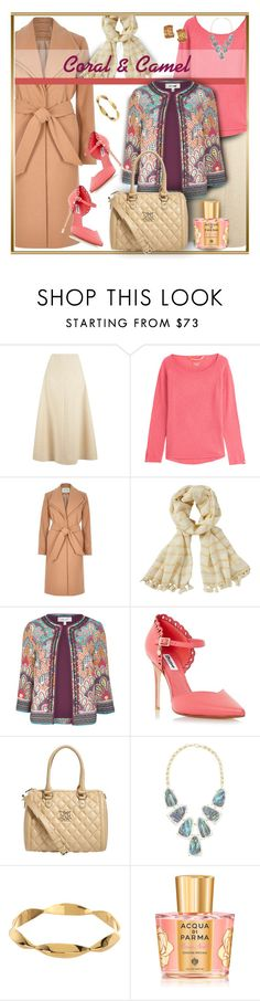 """""""Coral & Camel"""" by franceseattle ❤ liked on Polyvore featuring Emilia Wickstead, Dear Cashmere, River Island, Lilly Pulitzer, M&S, Love Moschino, Kendra Scott, Gorjana, Andrew Clunn and Acqua di Parma"""
