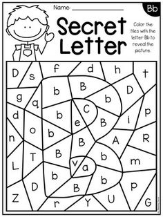 Alphabet Worksheets - Secret Letters by My Teaching Pal Letter Worksheets For Preschool, Preschool Education, Preschool Letters, Preschool Learning Activities, Alphabet Worksheets, Alphabet Activities, Kids Learning, Learning Spanish, Worksheets For Preschoolers