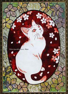 桜の精 Neko Cat, Stained Glass Crafts, One Stroke Painting, Cat Drawing, Halloween 2019, Mosaic Art, Cat Art, Animal Pictures, Tiffany