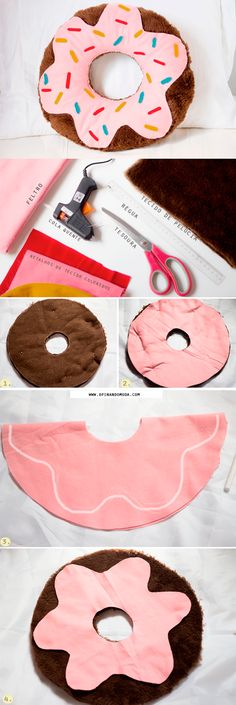 "DIY almofada donut pillow ""donut forget to read your scriptures and pray"" Cute Crafts, Felt Crafts, Diy And Crafts, Craft Projects, Sewing Projects, Crafts For Kids, Kids Diy, Ideias Diy, Diy Pillows"