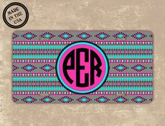 Aztec license plate monogrammed - Tribal pattern with Tiffany blue and hot pink - monogram vanity license plate front car tag (1029) on Etsy, $15.99