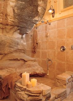 open shower,  a house carved into a mountain. Absolutely beautiful!