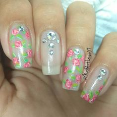 Floral decals and crystals for similar mani at lapaloma-boutique.com