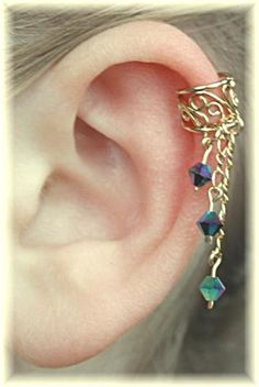 Filigree Ear Cuff with Dangle Crystals