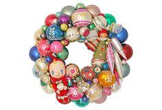Holiday   Wreath  w/ Ornaments on OneKingsLane.com