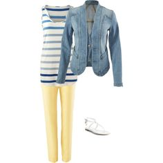 Jeanie Jacket, coast crop pant and wide stripe tee by cyndi-millns on Polyvore featuring Alexander McQueen