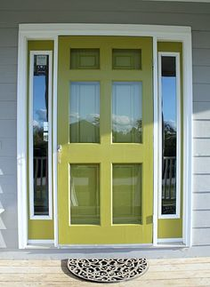 """Storm door purchased at the Habitat for Humanity resell store for $20.00 and painted with """"Spritz of Lime."""" #green door"""