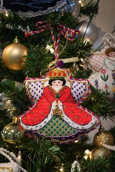 Painted Pony Queen Angel needlepoint ornament
