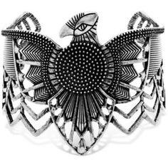 Steve Madden Silver Tribal Wrap Around Eagle Cuff Bracelet