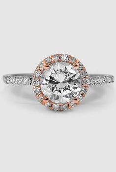 White Gold 'Serenity' Diamond Ring -  Embraced by a Halo of Glittering French Pavé Diamonds that are Set in Rose Gold ♥ ☀