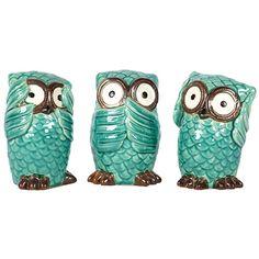 Turquoise Owls....see, speak, hear no evil!