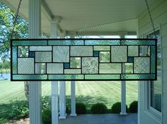 Stained Glass Panel Seafoam Green Window Transom by TheGlassShire, $103.00