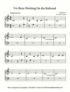 I've Been Working on the Railroad sheet music available to print for free! A great piece for beginning piano lessons.
