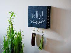 Creatief je sleutels ophangen, met schoolbordverf en krijt.