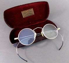 294fbaaffadb Antique Vintage Round Windsor-Style Eyeglasses  Embossed Rim  Great Case   1900 s
