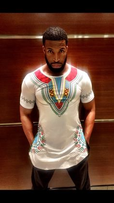 Side Zipper Shirt with Dashiki Designs Code 1 SIZE RUN SMALL (check description for size info)