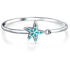 Bling Jewelry Triton Bangle ($60) ❤ liked on Polyvore featuring jewelry, bracelets, bangle-bracelets, blue, star fish jewelry, hinged bangle, hinged bracelet, bangle bracelet and starfish jewelry