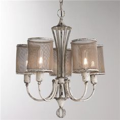 """Price:  $545.00  Vintage Screen Shade Chandelier  5x60watt max medium. Includes 65"""" of matching painted chain with 5.5"""" round canopy. (27""""H x 22""""D)"""