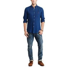 8d61e4bbecd3 This button-down s lightweight linen is specially treated to look like your  favorite sun-. Slim fit shirtsBeach shirtsLike youRalph LaurenPoloPolosTee
