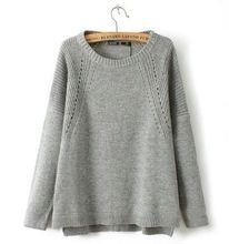 Mulher outono blusas de malha bordado em torno do pescoço manga comprida Vintage camisola de malha solta Lc0046(China (Mainland))
