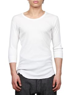 ATTACHMENT SS16 - Men's Tee-shirt With 3/4 Sleeves - White - serie     NOIRE