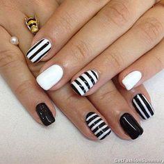 Black And White Trendy Nail Art Designs