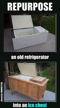 An old refrigerator becomes a ice chest for the deck!