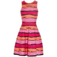 Issa Striped stretch-ponte dress ($620) ❤ liked on Polyvore
