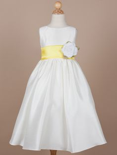 Gorgeous Poly-Shantung Flower Girl Dress with Organza Sash - Flower Girl Dresses