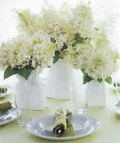easy #DIY - used paper bags as a centerpiece instead of vases
