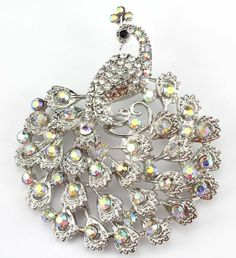 Clear Fine Austrian Rhinestone Crystal Sparkling Peacock Wedding Brooch Pin
