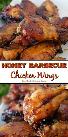 Honey Barbecue Chicken Wings – Great Grub, Delicious Treats Honey Barbecue Chicken Wings are baked wings that are smothered in a delicious honey barbecue sauce. Honey Bbq Chicken Wings, Chicken Wing Marinade, Chicken Wing Sauces, Grilled Chicken Wings, Barbecue Chicken, Grilled Chicken Recipes, Chicken Barbecue Sauce Recipe, Crockpot Chicken Wings, Best Baked Chicken Wings