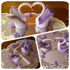3D origami swans 3d Origami Swan, Origami Paper Art, Paper Crafts, Swans, Crochet Patterns Amigurumi, Burlap Wreath, Macrame, Craft Ideas, Fun