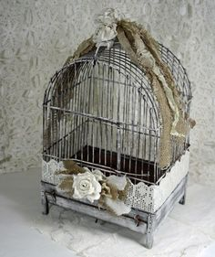 Shabby Cottage Chic Rusty Metal Birdcage Roses and Tatters www.SweetSouthernVintage.com