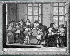 Abraham Bosse Le Mariage à la ville, 1633 : Le Contrat de mariage Eau-forte. 264 x 335 au coup de planche Tours, MBA, 1894-6-24