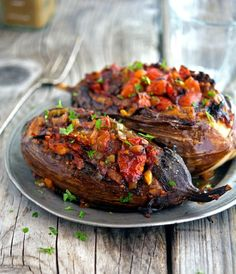 Imam Bayildi (Stuffed Eggplant). 6 servings. One serving yields 116 calories, 12 grams of fat, 11 grams of carbs, and 3 grams of protein.